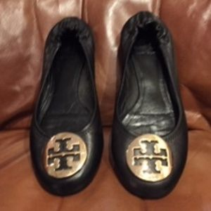 Tori Burch Black/Gold Reva Ballet Flats 7.5